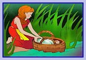 Baby moses in a basket (illustration)